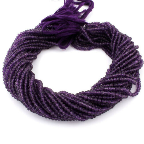 1 Strand Natural Faceted Amethyst Loose Gemstone Jewelry Finding Rondelles Beads