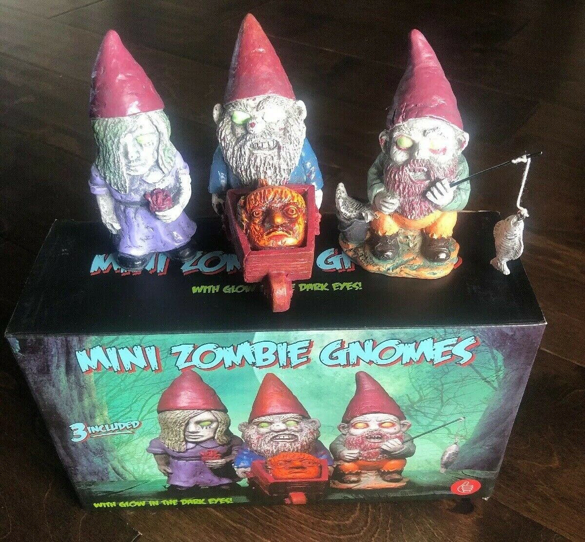 Mini Zombie Zombie Zombie Gnomes By Thumbs Up Glow In The Dark Eyes ae0c0c