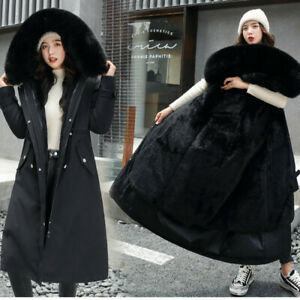 Winter-Womens-Long-Hooded-Puffer-Jacket-Fur-Liner-Down-Cotton-Coat-Quilted-Parka
