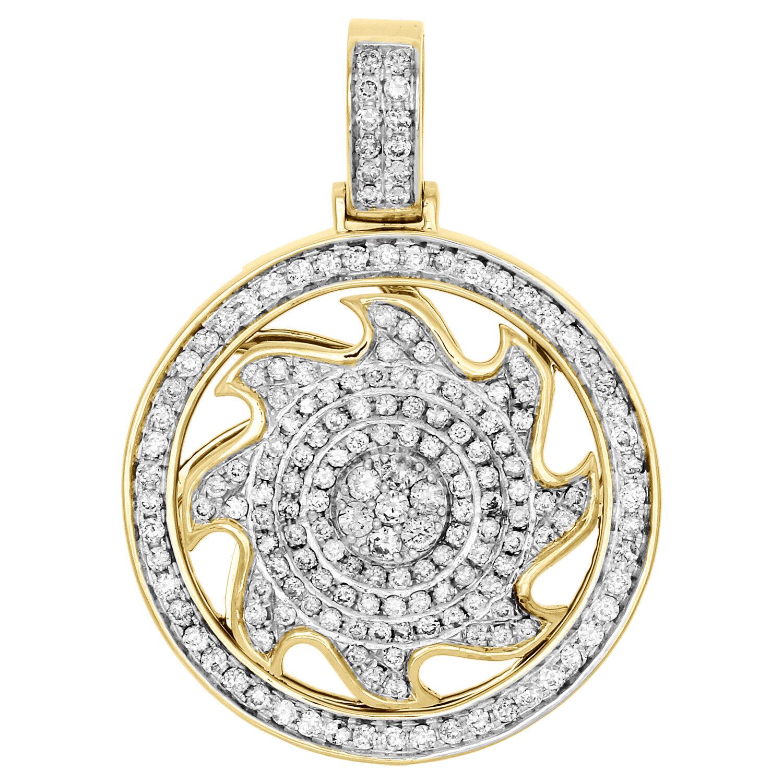 10K Yellow gold Diamond Spinner Wheel Circle Medallion Frame Pendant Charm 2.15