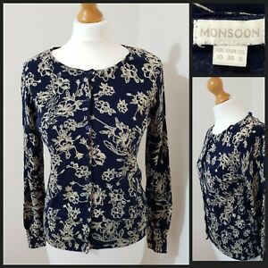Details about Monsoon Blue Floral Print Cardigan Size 10, 100% Cotton