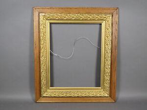 Vintage-Antique-16-034-x-20-034-Oak-Wooden-Frame-w-Gold-Gilt-Liner-Picture-Photo-Art