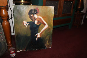 Stunning-Oil-Painting-Female-Spanish-Flamenco-Dancer-Signed-Lifelike-Painting