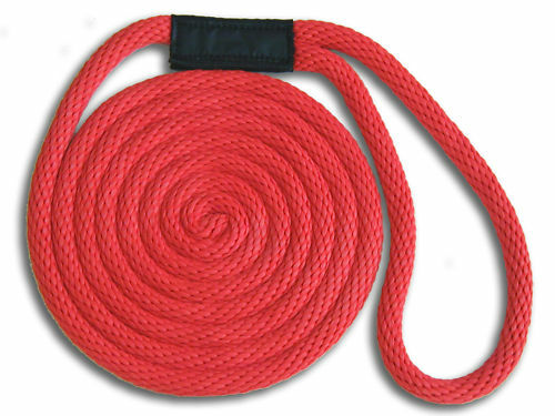"""1//2/"""" x 10/' Solid Braid Nylon Dock Lines Made in USA Red"""