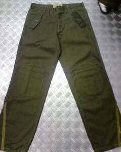 Green-Italian-Army-Style-Straight-Leg-Trousers-amp-Knee-Pads-amp-Zips-36-034-NEW