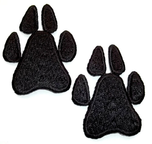 """BLACK 2 SMALL PAW PRINT 3//4/"""" X 1/"""" IRON ON PATCHES"""