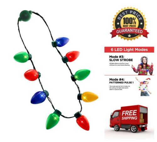 LED Light Up Christmas Bulb Multi-Colored Necklace Ugly Xmas Fun Party Favors