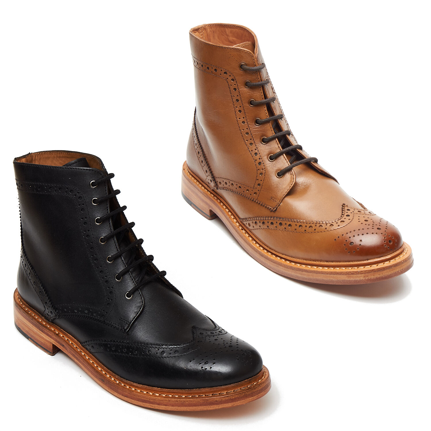 GOOD UP LACE BROGUE LEATHER YEAR MENS Stiefel ANKLE TAN