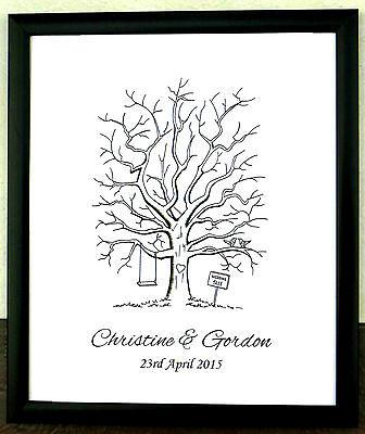 Personalised A3 Fingerprint Tree Guest Book + Ink Wedding Birthday Christening17