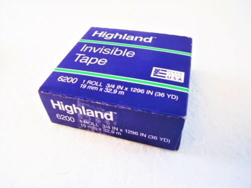 "6-Rolls Highland 6200 Invisible Tape 3//4/"" x 1296/"" 36yd each Made In USA 3M New"
