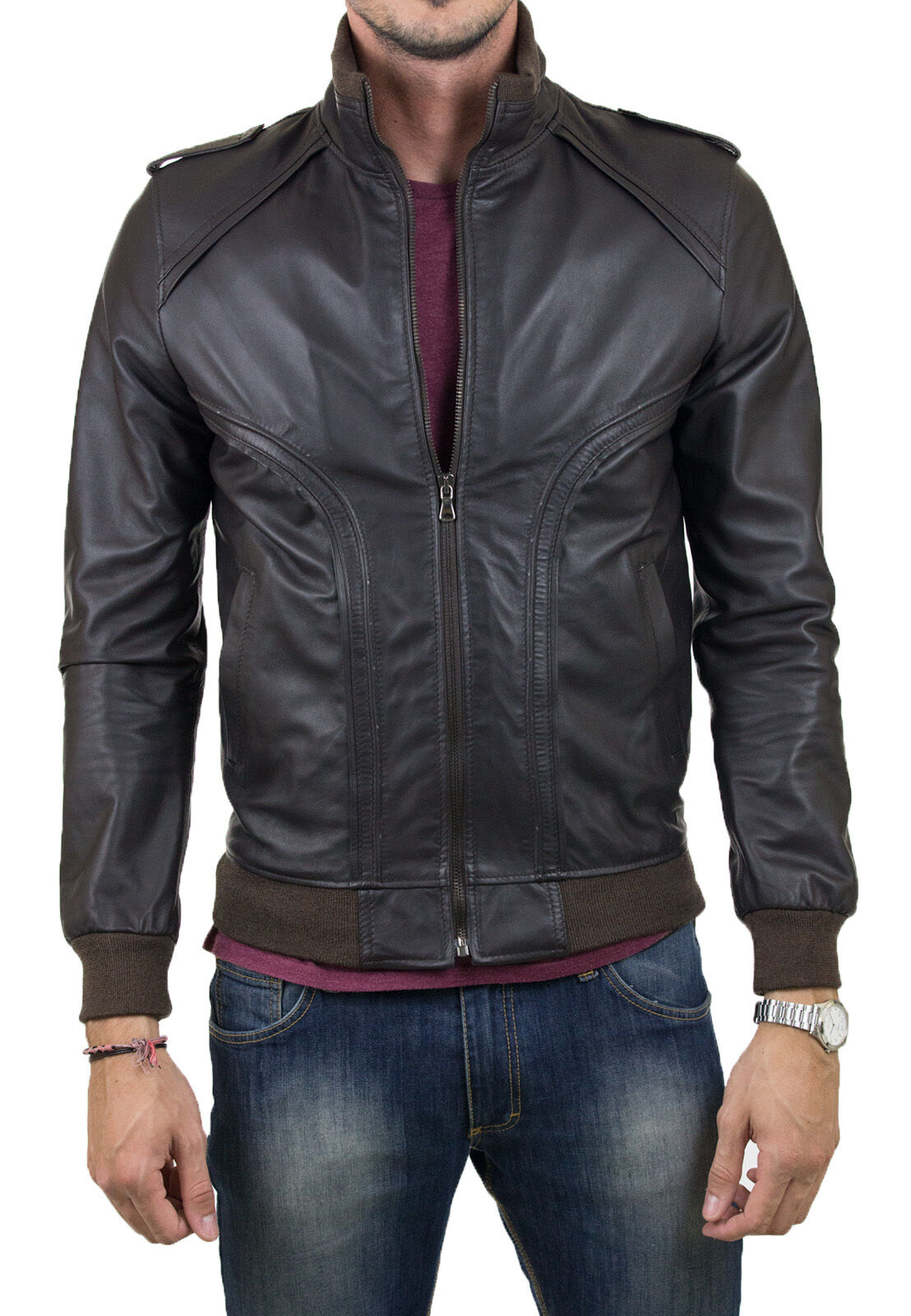 ★Giacca Giubbotto  Uomo in di PELLE 100%★   Giubbotto Leather Jacket Veste Homme Cuir Q4 fb9559
