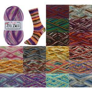 King-Cole-Zig-Zag-4-Ply-Knitting-Sock-Yarn-Craft-Wool-100g-Ball