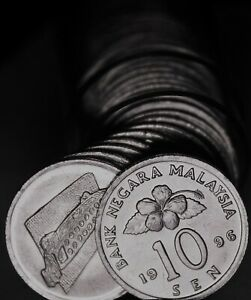 Gem Unc Roll (50) Malaysia 1996 10 Sen Coins~Ceremonial Table~Free Shipping