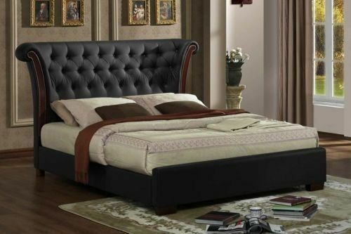 New Black Luxurious Chesterfield Rolltop 4ft6 Double Bed Frame