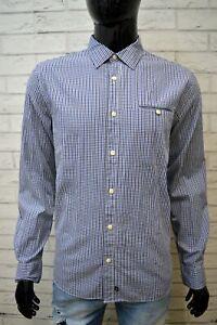 Camicia-Blu-Uomo-CHEVIGNON-Taglia-M-Maglia-Camicetta-a-Quadri-Manica-Lunga-Shirt