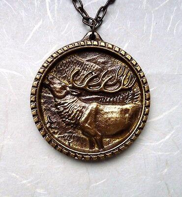 Medaille Medallie Hirsch Auszeichnung goldfarbig Prämierung Verzierung Deko Neu