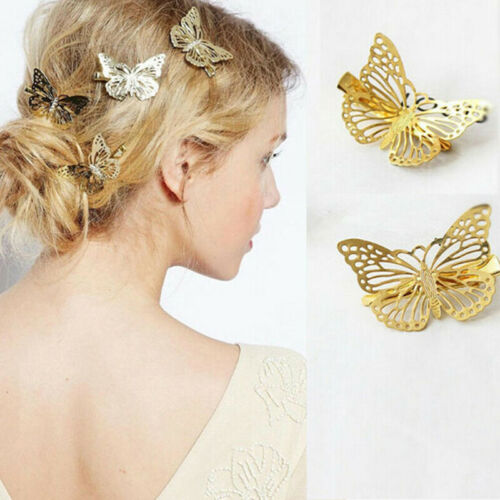 2pcs Fashion Women Girls Gold Butterfly Barrette Hair Clip Hairpin AccessoriesZF