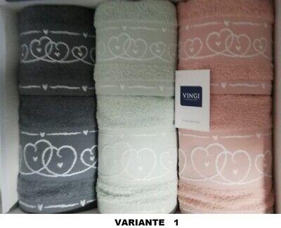 Russo Tessuti Set Asciugamani Spugna 3+3 Viso e Ospite VINGI Basic Azzurro Blu Bianco