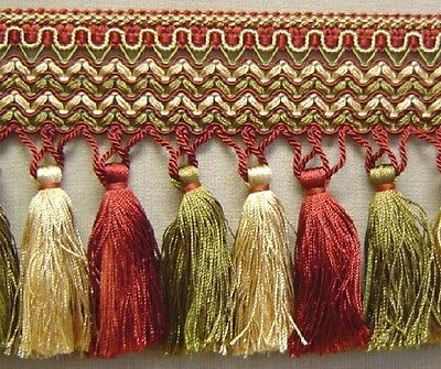 """1.5/"""" Gimp Trim Yellow Gold Cranberry Red Olive Green matched tassel fringe cord"""