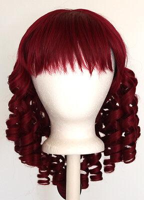 14'' Ringlet Curly Shoulder Length w/ Short Bangs Burgundy Red Wig Lolita NEW