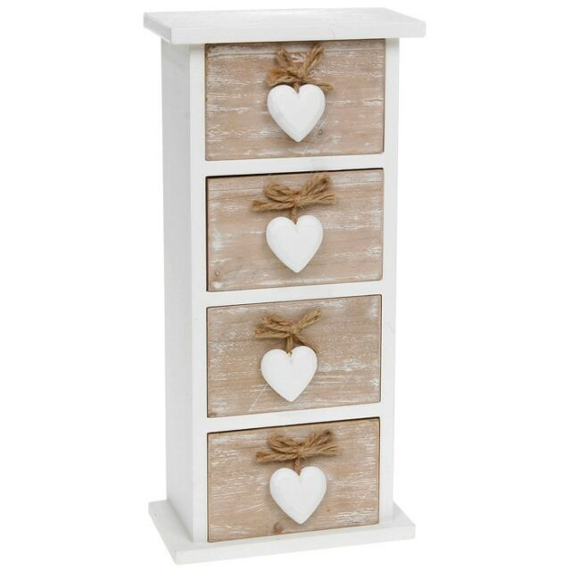 QUALITY PROVENCE SHABBY CHIC 4 DRAWER MINI CHEST HOME DECOR NEW AND BOXED