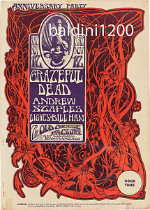 GRATEFUL-DEAD-HIGH-QUALITY-EARLY-VINTAGE-CONCERT-POSTER-LOOKS-AWESOME-FRAMED