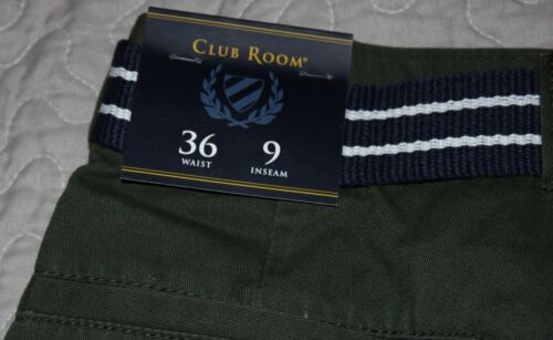 """Club Room Men Estate Flat-Front Shorts with Belt 9/"""" Inseam Size 34 or 36 $46.00"""