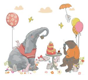 Cartoon Cute Elephant Wall Stickers For Kids Room Living Room Wall Bear Rabbit