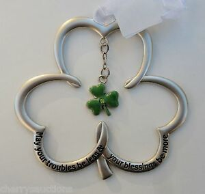 a C May your troubles be less blessing be more irish SHAMROCK ORNAMENT ganz