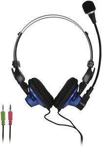 Multimedia-Stereo-Headset-Dynamic-Kopfhoerer-fuer-PC-schwarz-blau