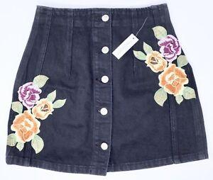 07ae4a00ec NEW Topshop Moto Black Denim Skirt 8 Floral Embroidered Button Mini ...