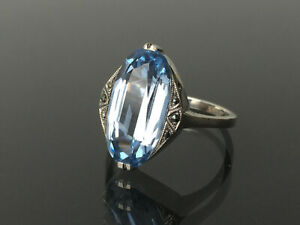 süßer Art Deco Ring um 1930 mit Meer blauem Stein und Markasiten – Silber 835