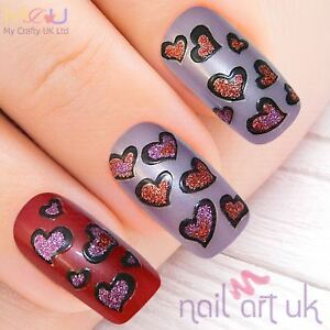 Red And Purple Glitter Heart Nail Stickers Decals Art 0102009