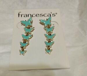 Francesca's Butterflies Mint colored Earrings. New