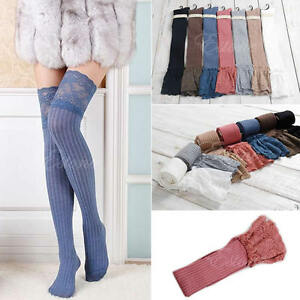 Women-Knitting-Lace-Cotton-Over-Knee-Thigh-Stockings-High-Socks-Pantyhose-Tights