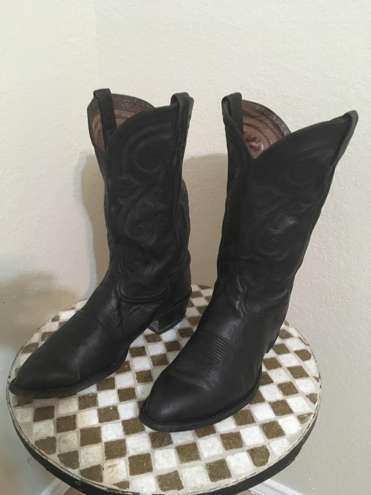 Vintage Negro Tony Lama Texas hecho WESTERN RANCHO Trabajo botas Vaqueras puntiaguda 13 D
