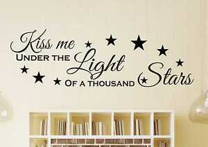 Kiss me sous la lumière de mille étoiles Ed Sheeran Mur Autocollant Art.