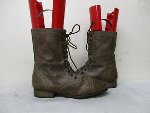 2ec25265bb0 Steve Madden Troopa Stone Leather Zip Lace Combat Fashion Boots Size ...