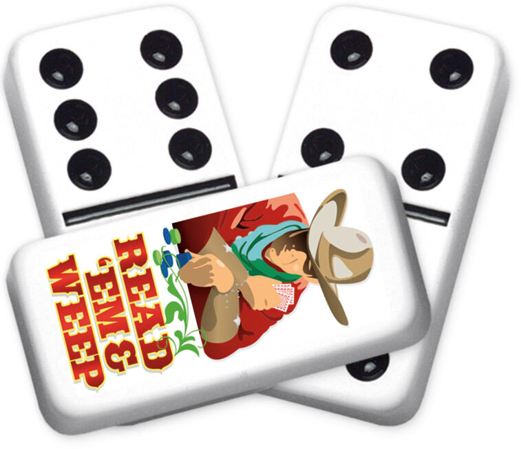 Greeting Series Read'em & Weep Design Double six Professional size Dominoes