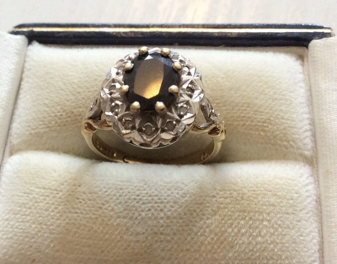 SPLENDIDA Donna piuttosto ottime Vintage Solido 9 9 9 KT oro Zaffiro & Anello Di Diamanti-J 9875aa
