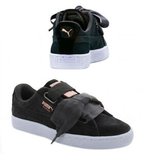 Details about Puma Suede Heart Velvet Rope Womens Trainers Lace Up Shoes  Black 365111 02 Q7E