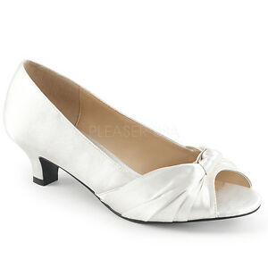 Details About 2 Ivory White Satin Vintage Wedding Low Heels Shoes Womans Large Size 11 12 13