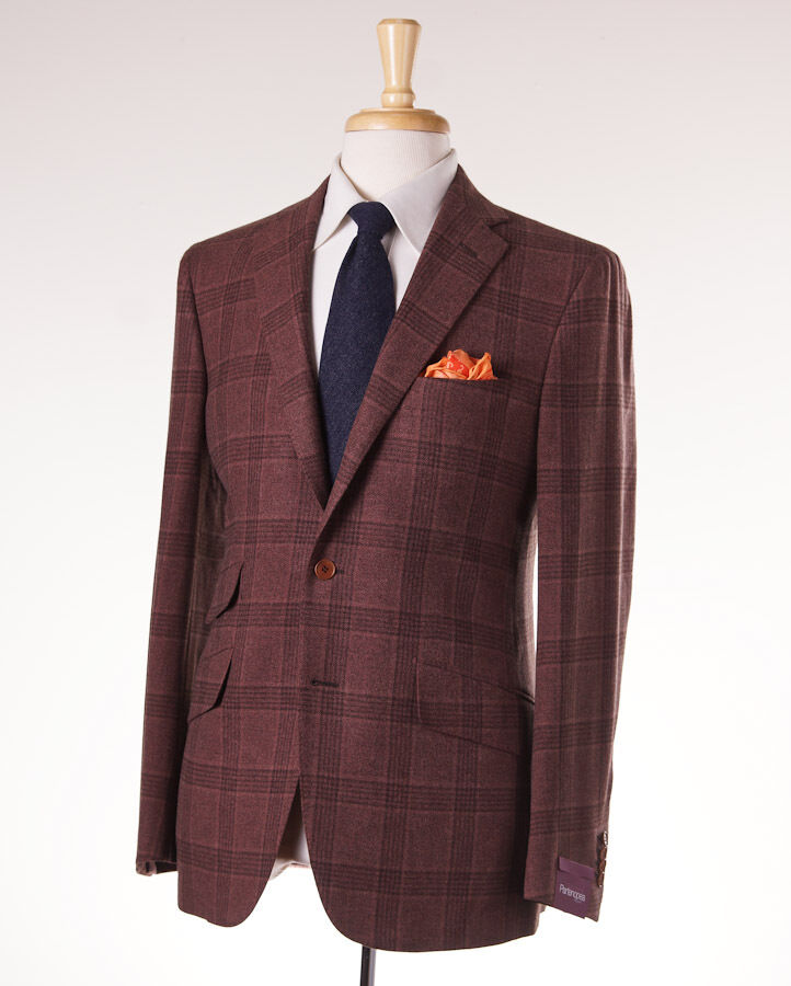 NWT 2995 SARTORIA PARTENOPEA Rust Windowpane Wool-Cashmere Sport Coat Slim 42 R