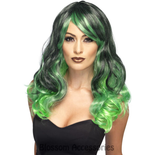 W421 Ladies Ombre Wig Green Witch Bewitching Long Halloween Costume Accessory
