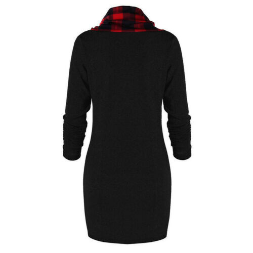 Womens Plaid Tunic Mini Dress Long Sleeve Casual Buttons Tops Bodycon Sweatshirt