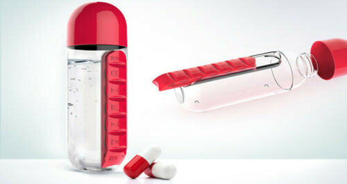 Portable Water Bottle Plastic BPA Free Daily Pill Box Drinking Leak-Proof Bottle