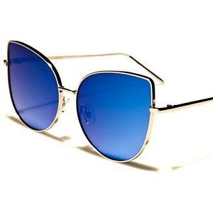 346c446f41 Image is loading Modern-Designer-Inspired-Elegant-Womens-Blue-Mirrored-Lens-