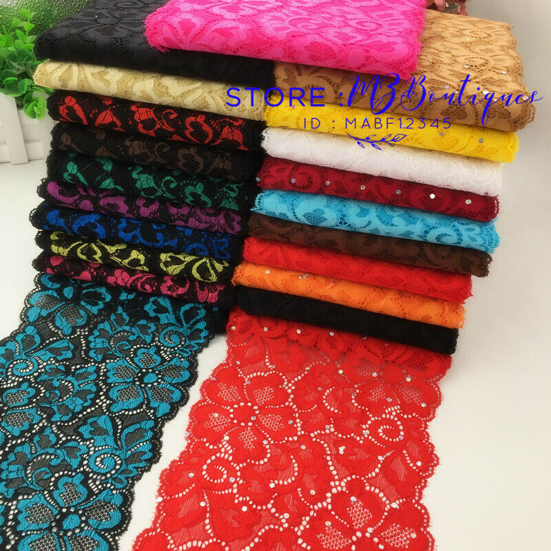 1 yard Flower Stretch Lace Trim Ribbon Sewing dress headband crafts 15cm FP145