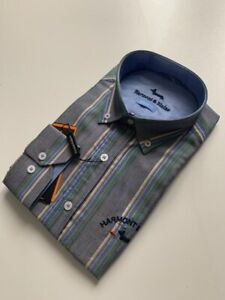 Harmont-amp-Blaine-Shirt-Narrow-Fit-grey-beige-blue-light-green-and-green-stripes
