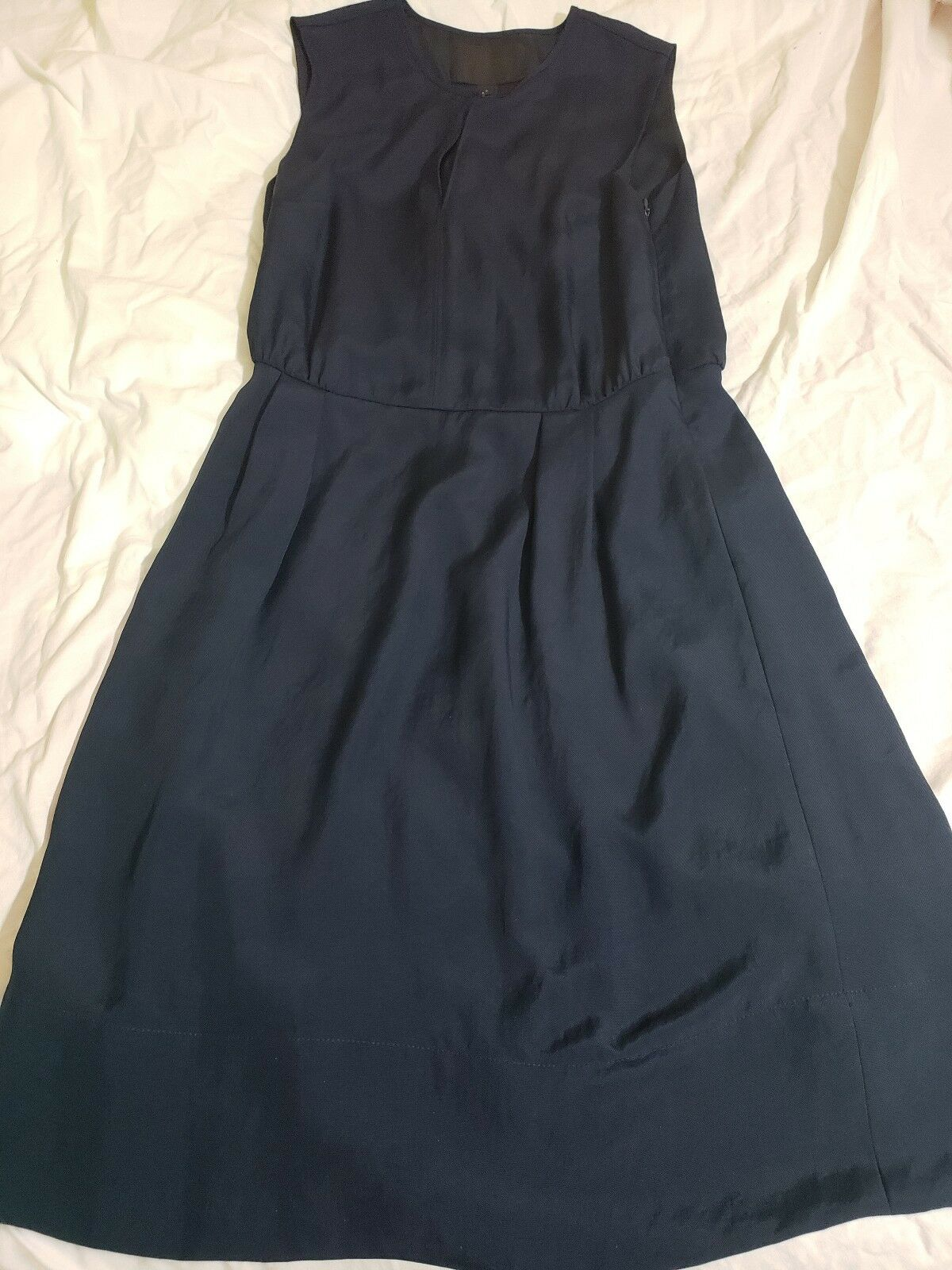 NJ.CREW COLLECTION Size 4 Keyhole Draped Lined Blouson Dress A5413 Navy